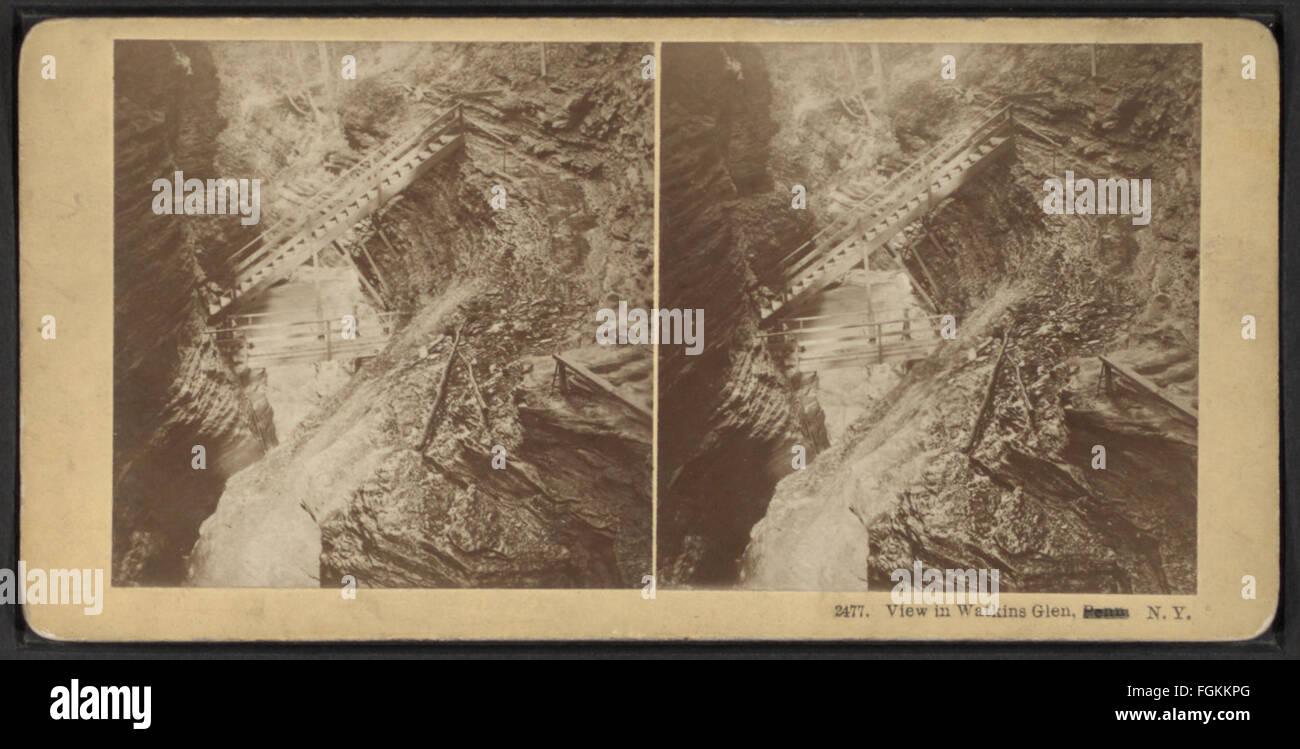 Voir à Watkins Glen, N.Y, par Kilburn, B. W. (Benjamin West), 1827-1909 Photo Stock