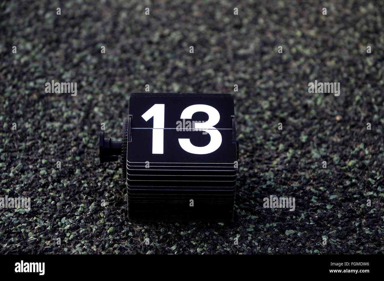 13, 13, numéro,calendrier, anniversaire, jour, Photo Stock