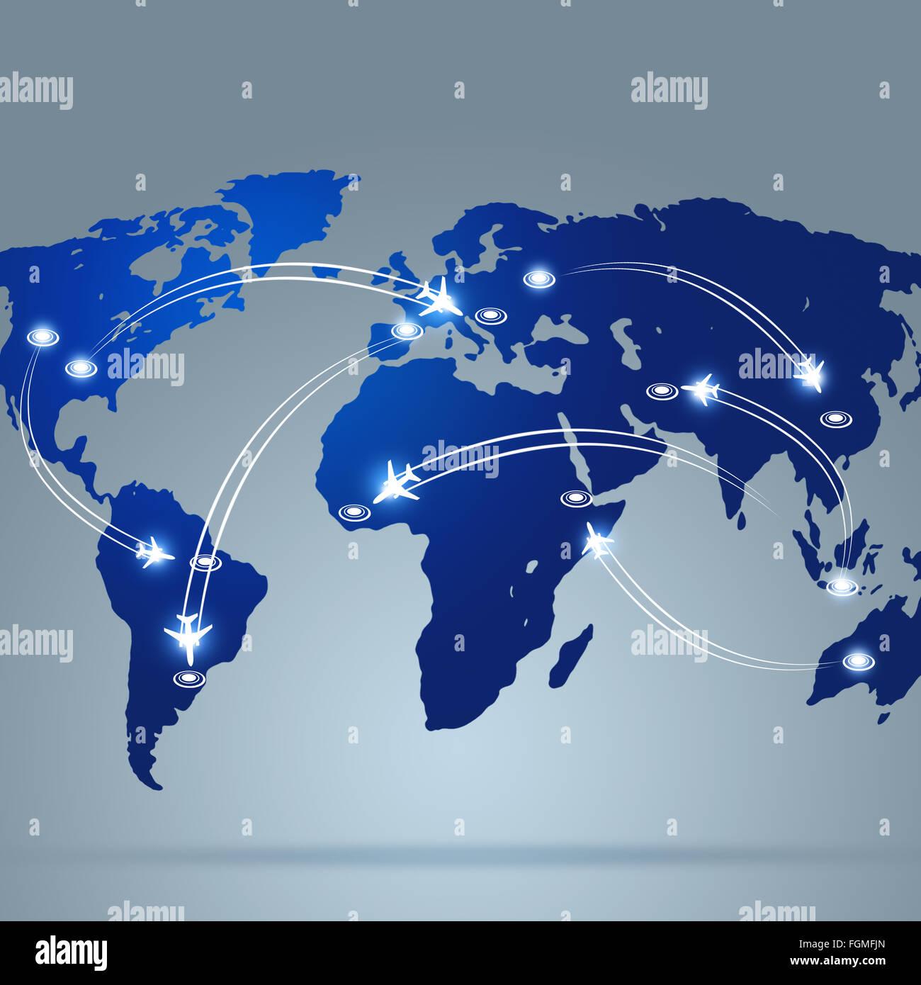 Arrière-plan de l'aviation avec des avions volant au-dessus de la carte Photo Stock