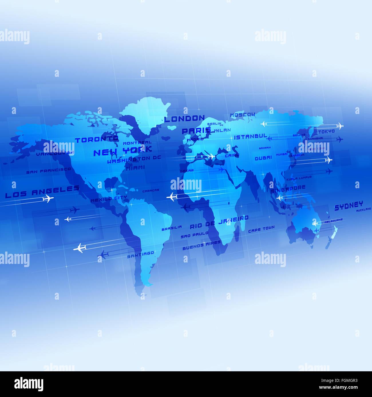 Arrière-plan de l'aviation dans le monde avec des avions et des noms de ville sur une carte Photo Stock