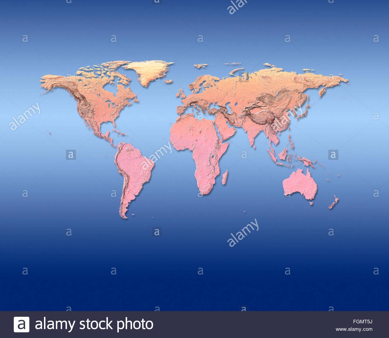 Carte du monde la mondialisation dans le monde de la cartographie mondiale des cartes de géographie de la terre, Photo Stock