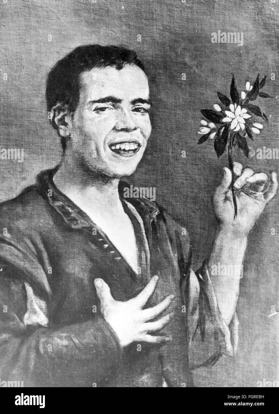 La médecine, la psychiatrie / maladies mentale, idiot avec orange blossom, peinture, attribuée à Photo Stock