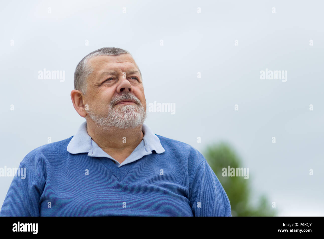 Outdoor portrait of a senior man looking up barbu avec espoir Photo Stock