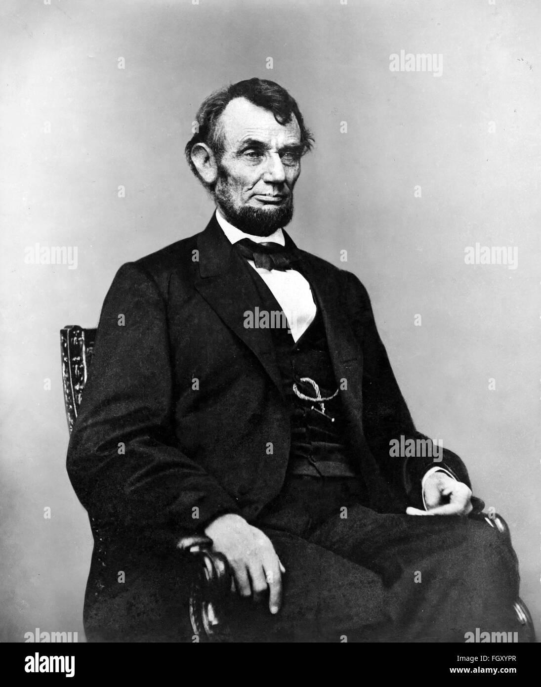 Portrait photographique du président américain Abraham Lincoln en 1864 Photo Stock