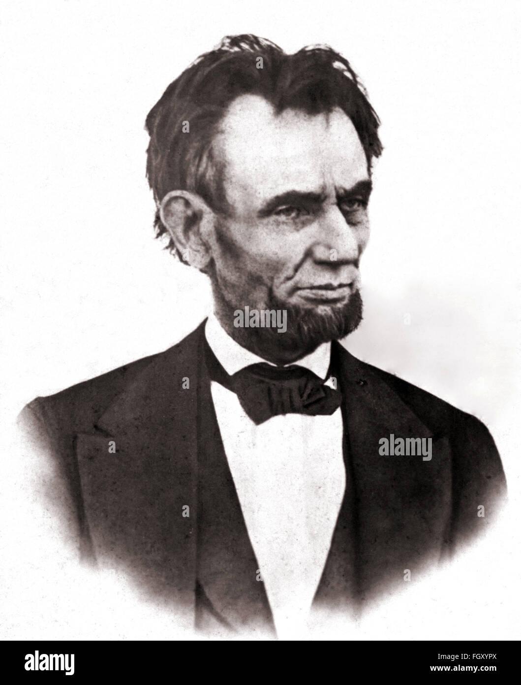 Portrait photographique du président américain Abraham Lincoln en 1865 Photo Stock