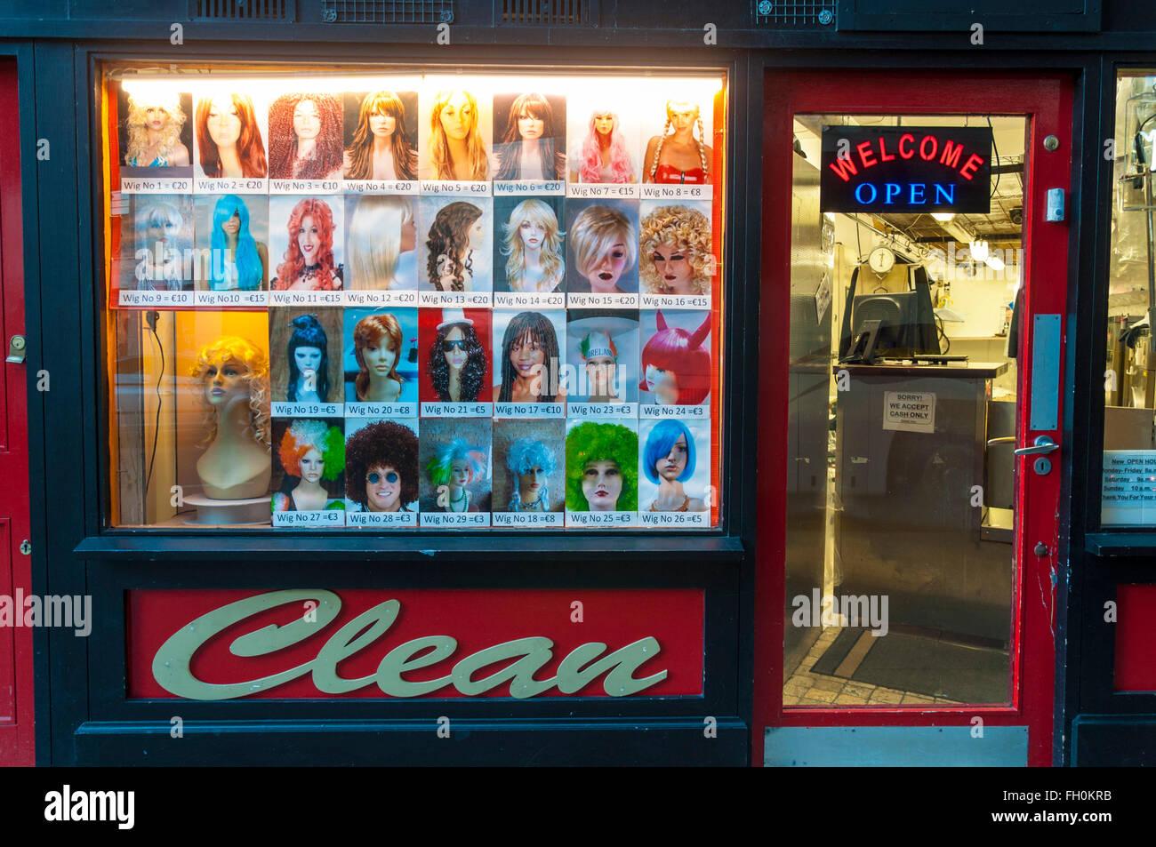 Boutique de vente de perruques dans Talbot Street, Dublin, Irlande Photo Stock