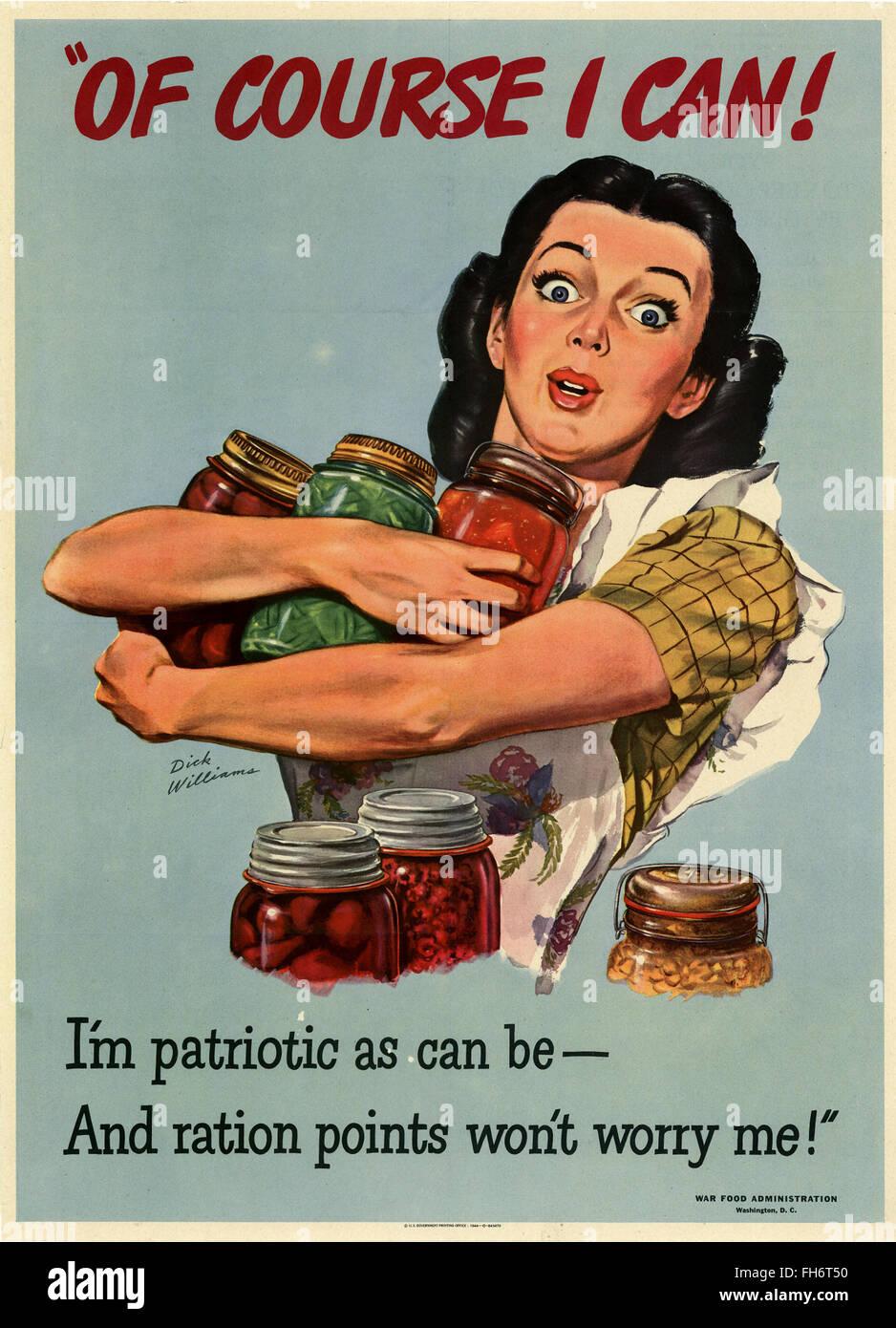 La mise en conserve des aliments Conservation - Affiches de propagande US - WWII Banque D'Images