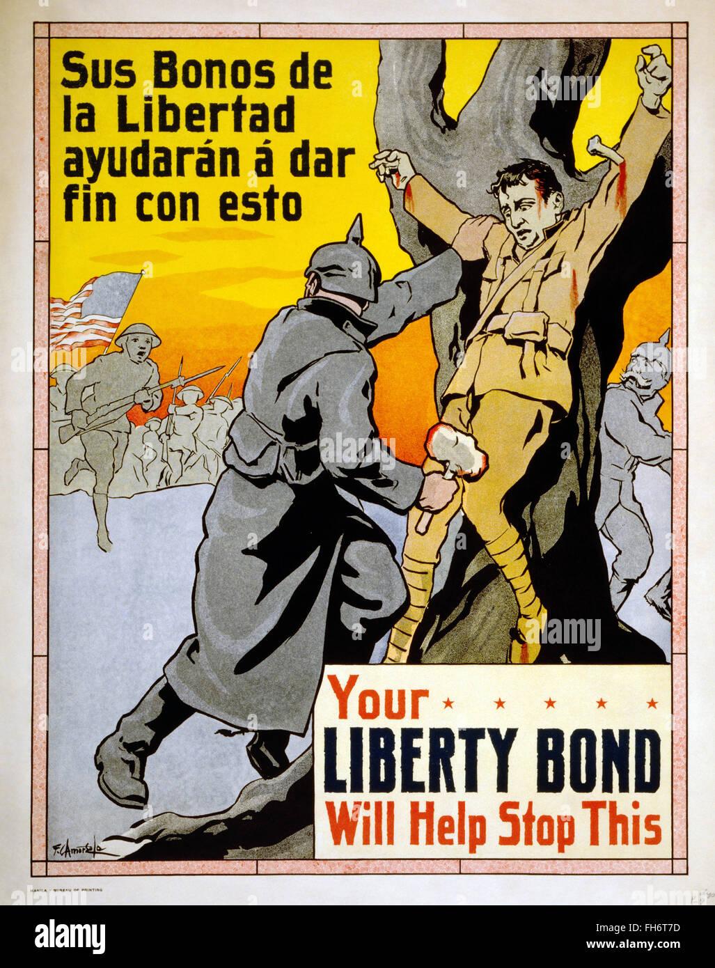 Votre liberté Bond vous aidera à mettre fin à cette propagande US - Poster - WWI Photo Stock