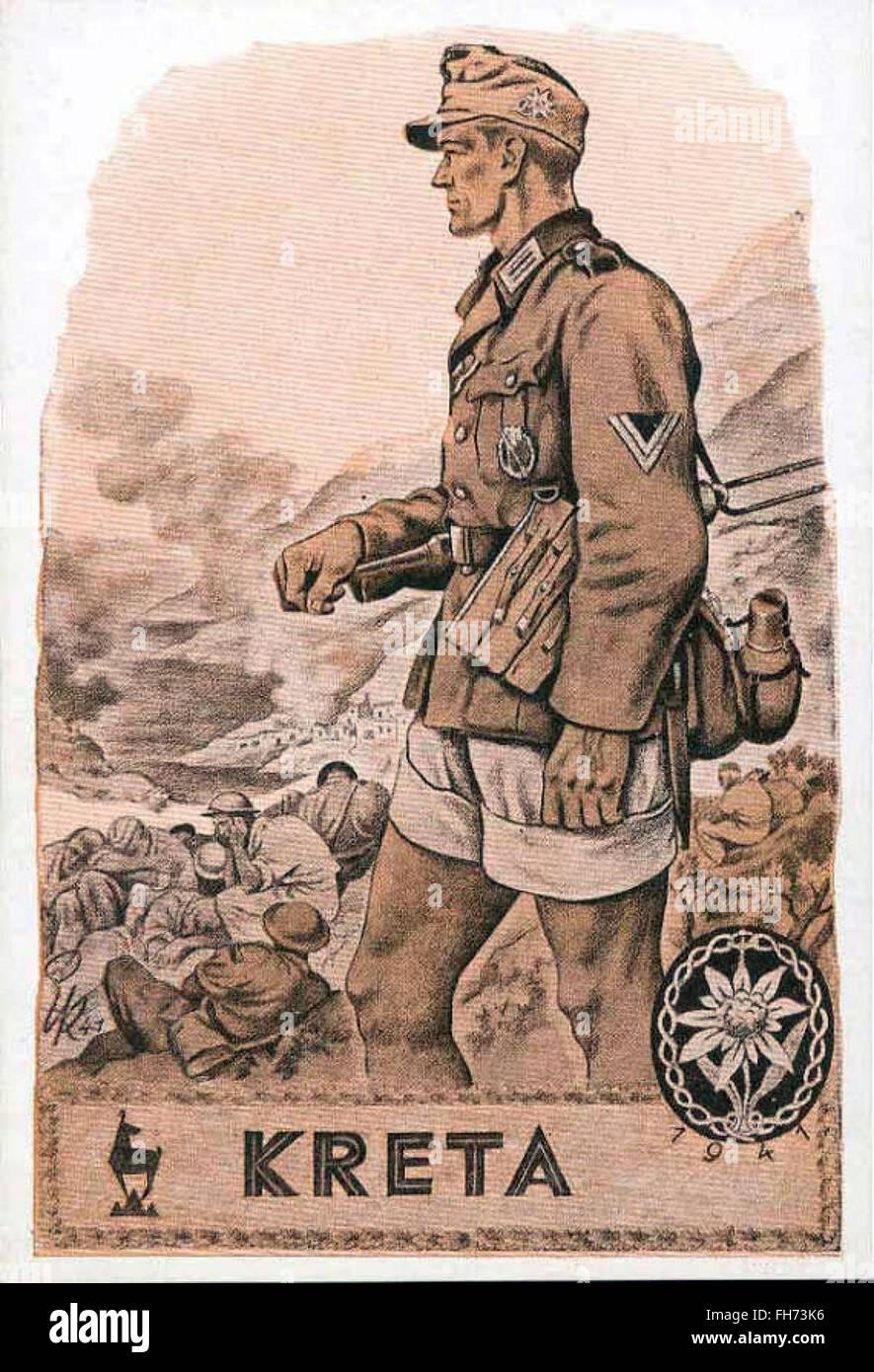 Crète - Affiche de propagande nazie allemande - WWII Banque D'Images