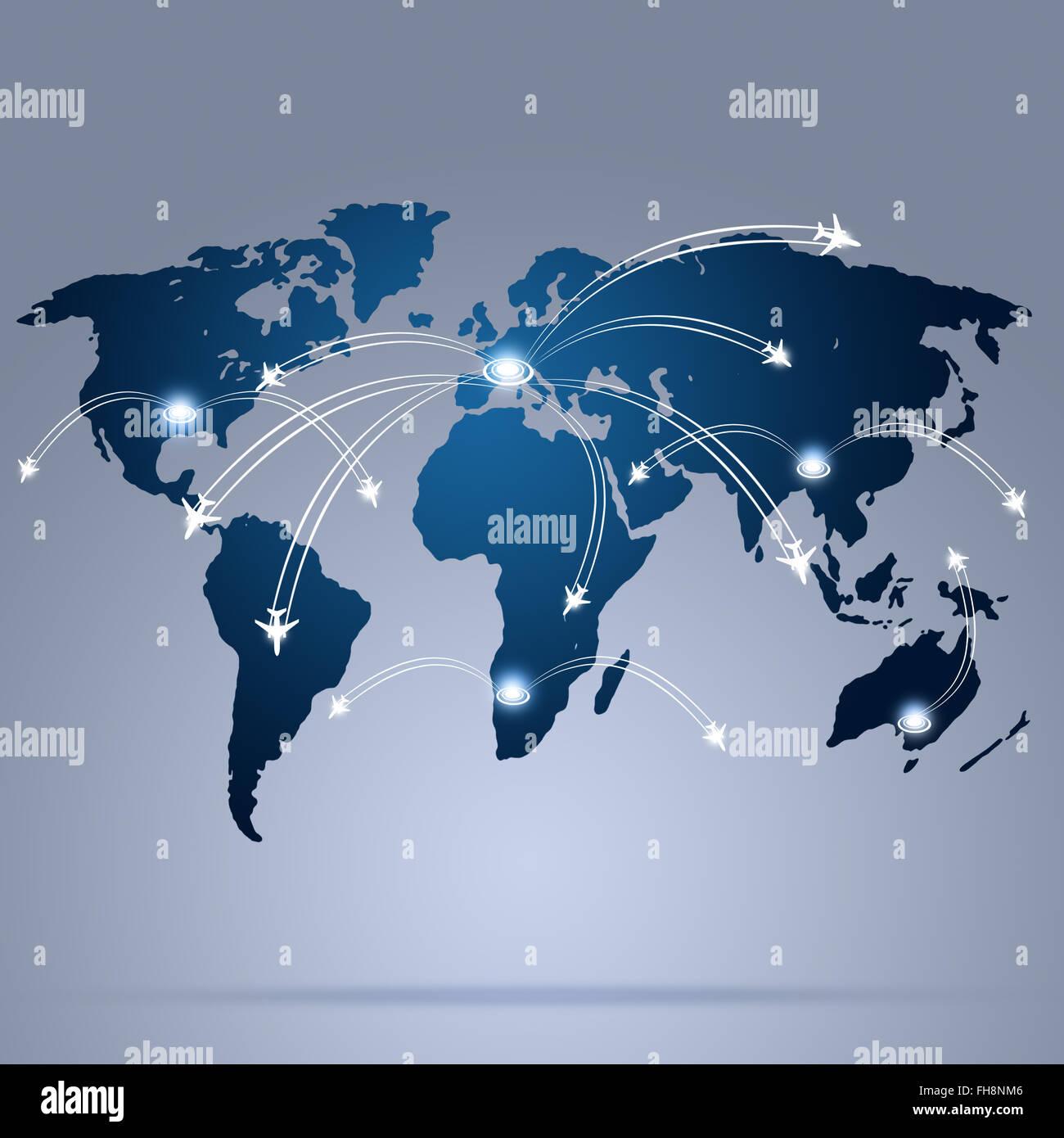 Arrière-plan de l'aviation dans le monde avec des avions sur la carte Photo Stock