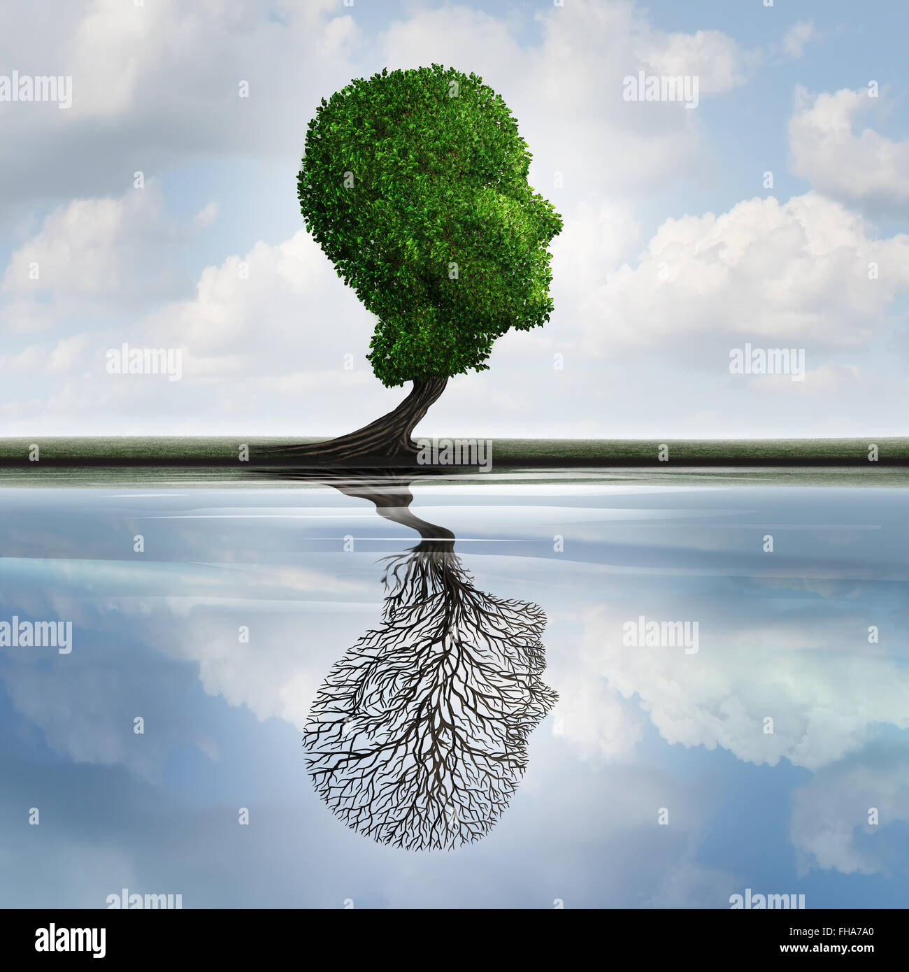 La dépression masquée concept et symbole des sentiments privés comme un arbre avec des feuilles en forme d'une tête humaine avec une réflexion sur l'eau avec une usine vide comme une idée de la psychologie interne pour visualiser des émotions cachées. Banque D'Images