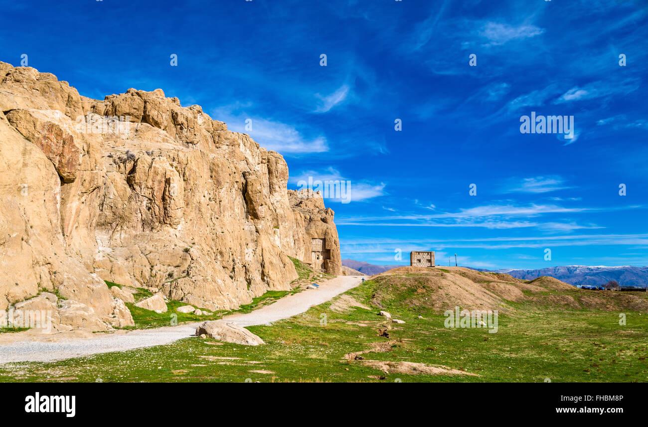Vue de la nécropole de Naqsh-e Rustam en Iran Photo Stock