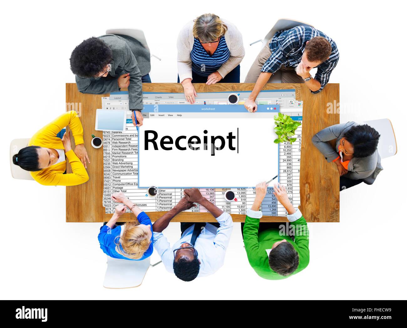 Frais financiers Les frais reçus réception Concept dépenser Photo Stock