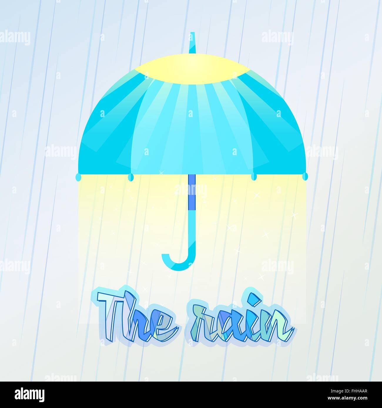 De marcher sous le grand parapluie, l'amour de la pluie. Vector illustration de parapluie dans la pluie. Le Photo Stock