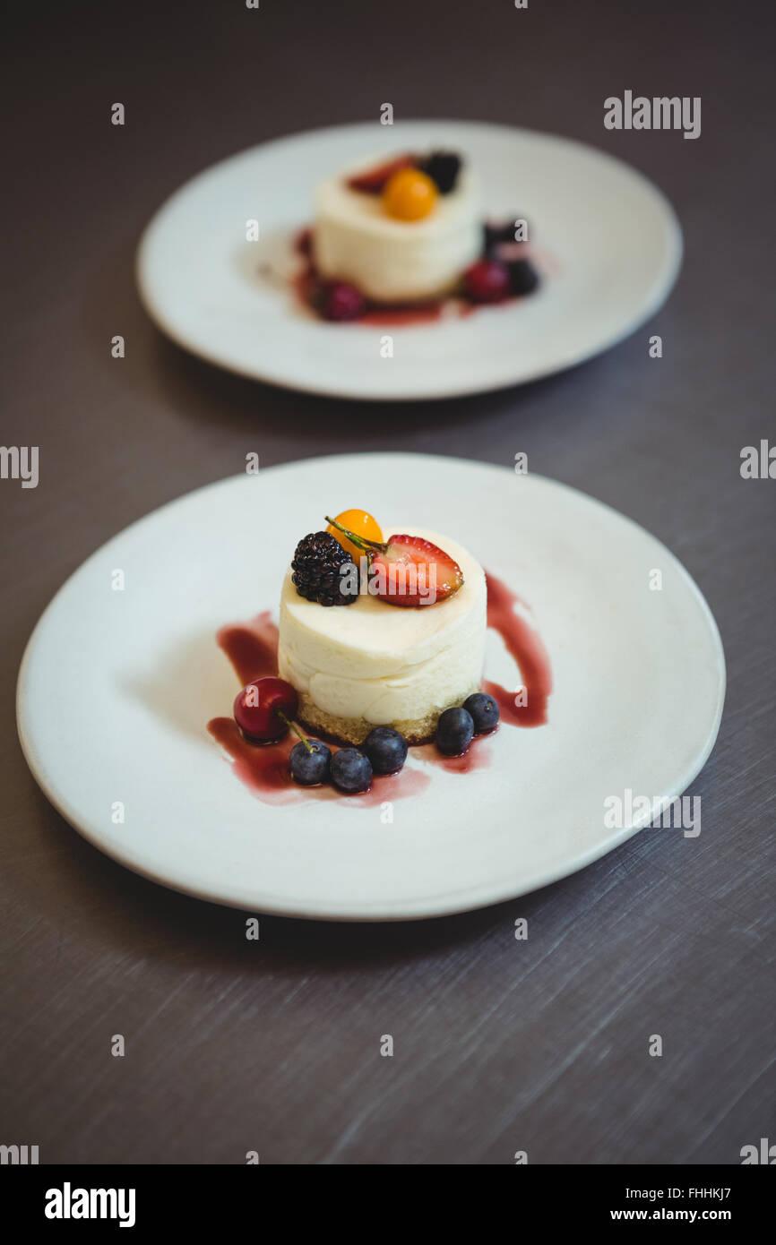 Plaquettes de dessert à la station de commande Photo Stock