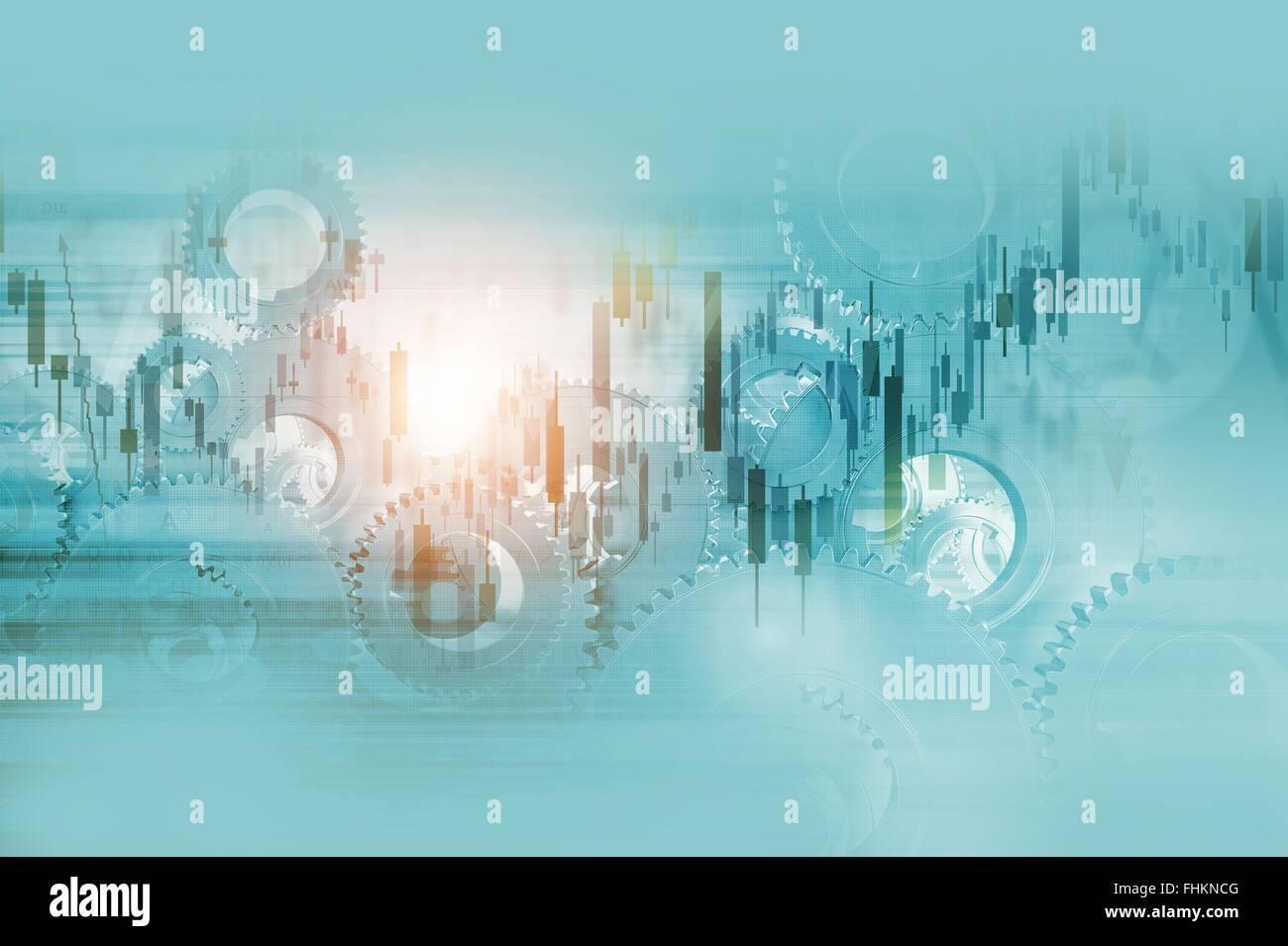Les mécanismes de l'économie Résumé Business Background Illustration. Banque D'Images