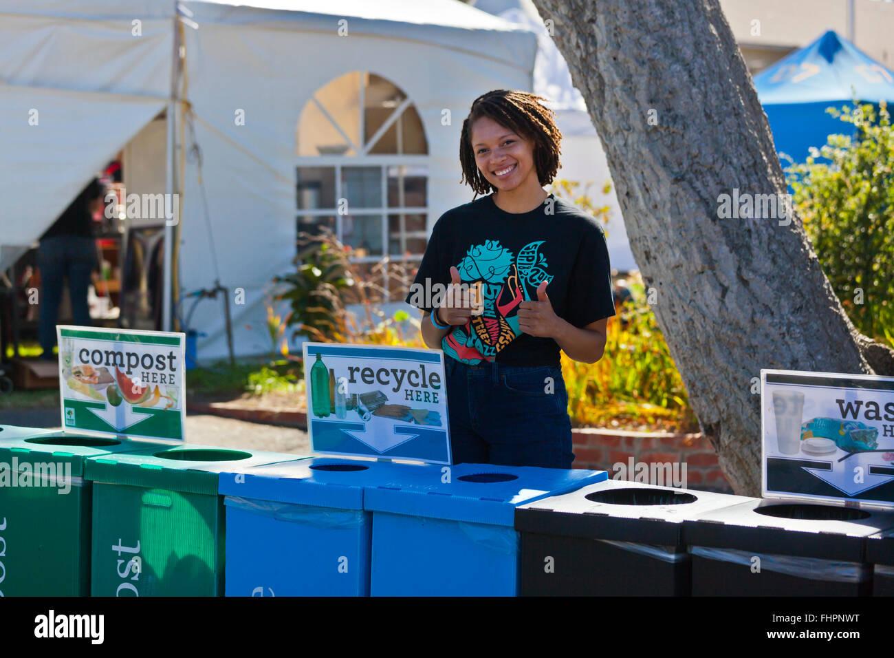 Sur les terrains de recyclage au Festival de Jazz de Monterey, Californie Photo Stock