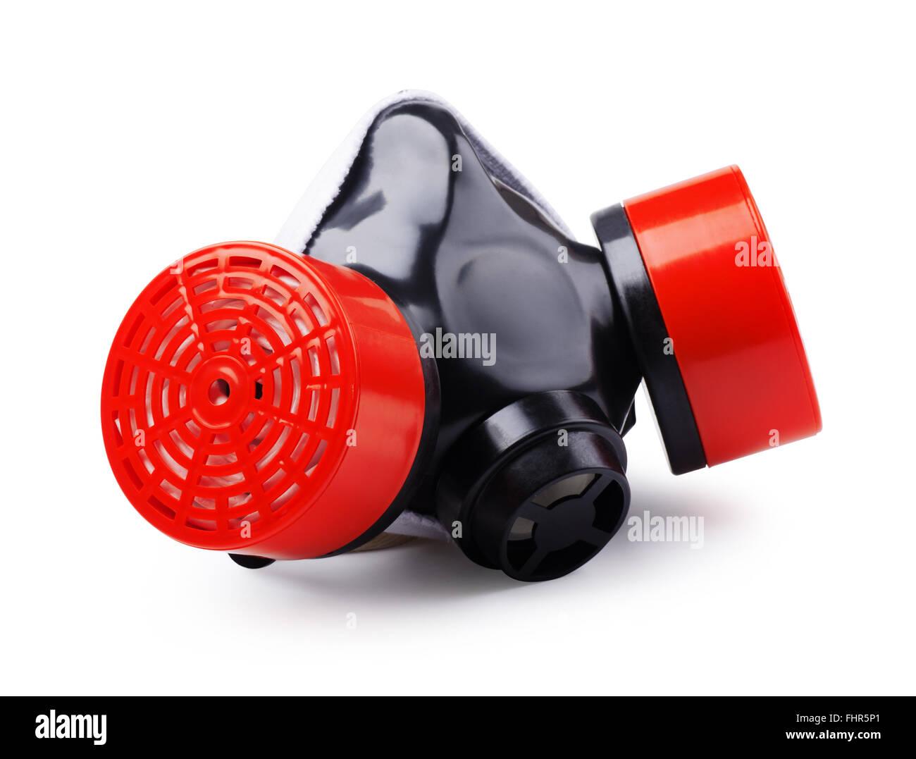 Masque à gaz de protection isolé sur fond blanc Banque D'Images