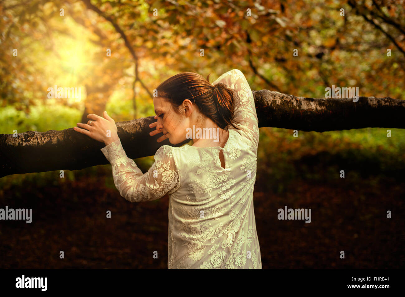 Jeune femme en se penchant sur la branche d'arbre du parc Banque D'Images
