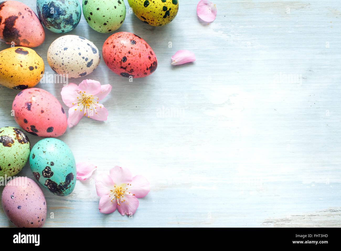 Les oeufs de Pâques et fleurs de cerisier résumé rétro arrière Photo Stock