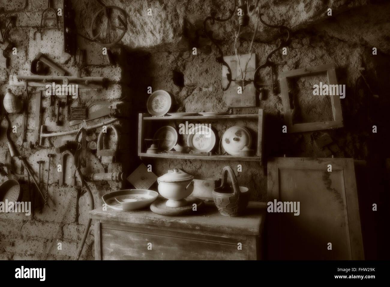 Atelier de porcelaine antique à Civita di Bagnoregio Banque D'Images