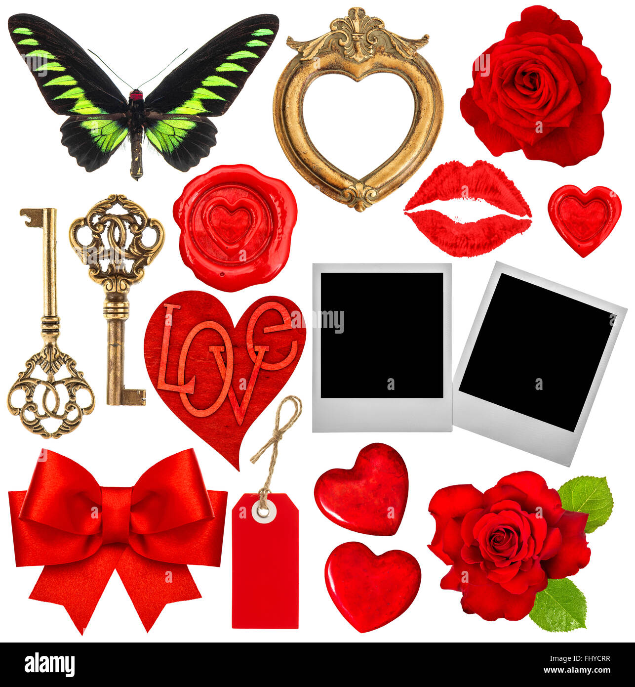 Valentines Day album. Coeurs rouges, lips kiss, cadres photo, fleur rose Photo Stock