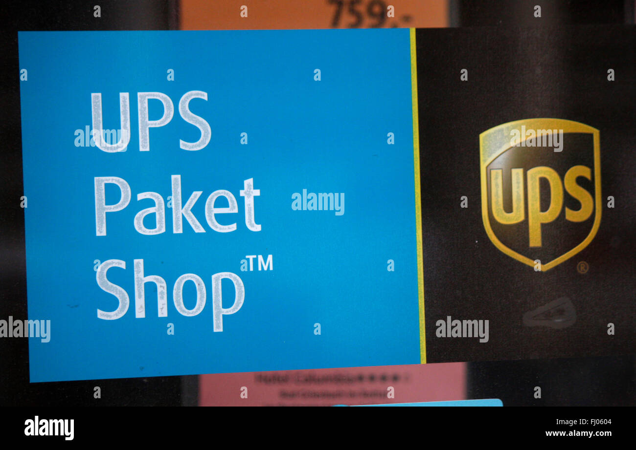 Markenname : 'UPS United Parcel Service', Berlin. Photo Stock