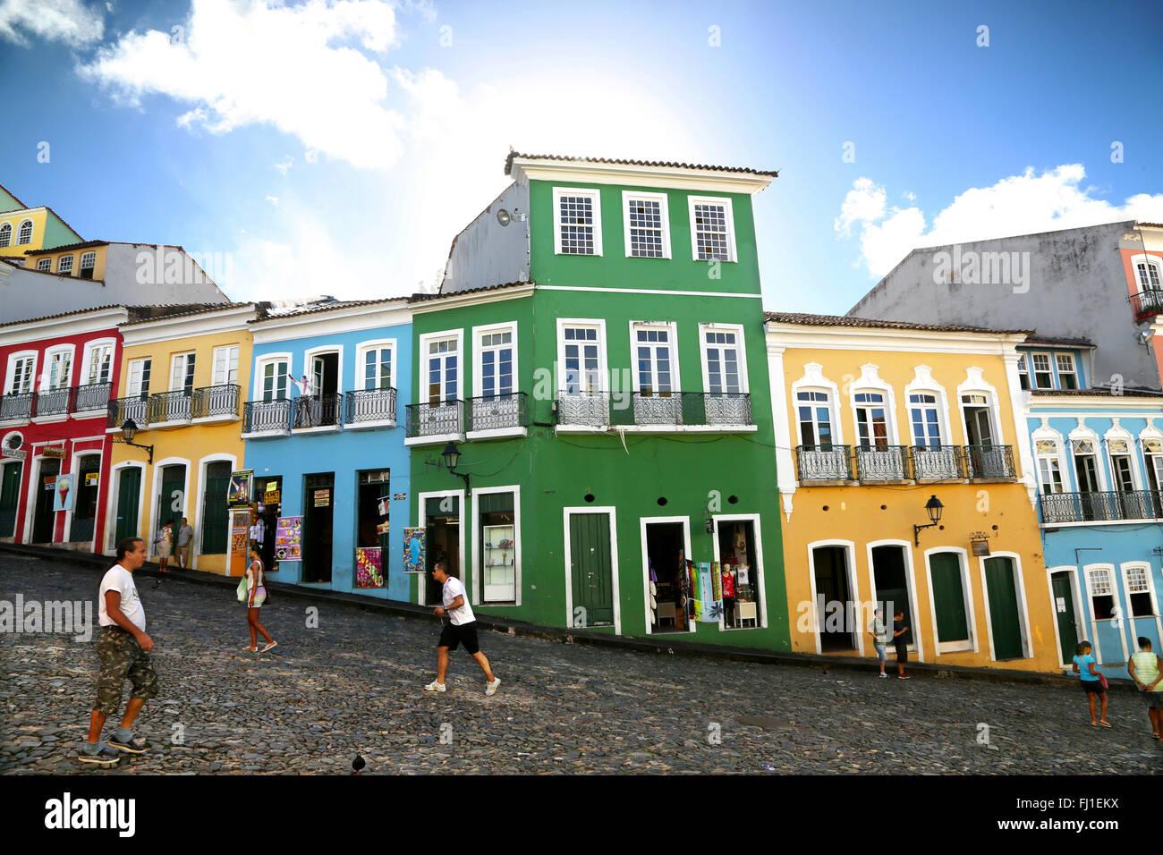 Largo do Pelourinho est un quartier historique situé dans la zone ouest de Salvador de Bahia, au Brésil. Photo Stock