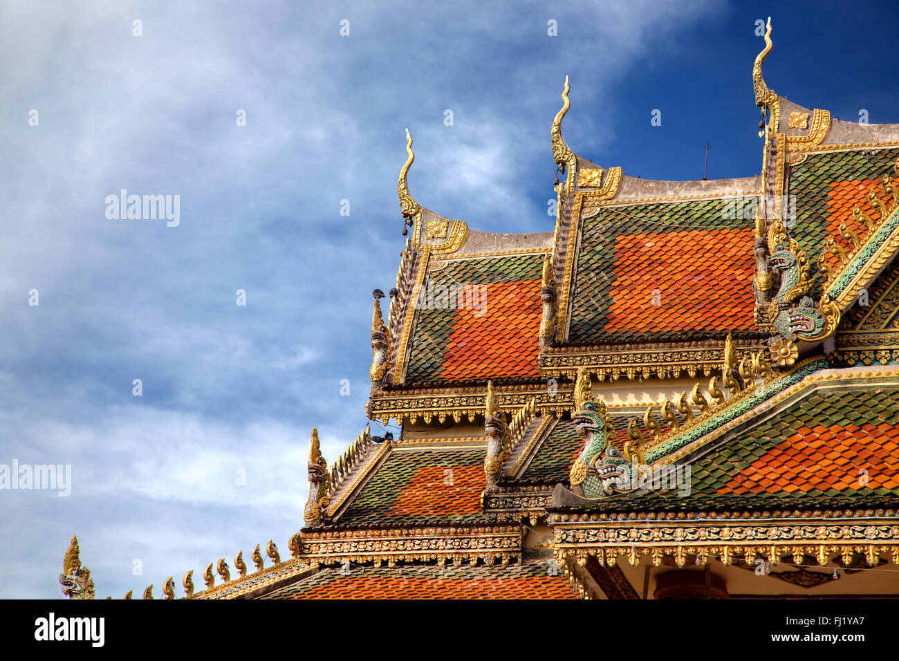 Toit de Wat Baydamram, Battambang Photo Stock