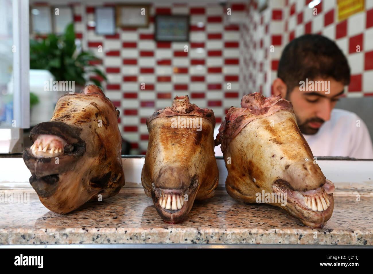 Les têtes de mouton pour la vente à la boucherie à Istanbul , Turquie Photo Stock
