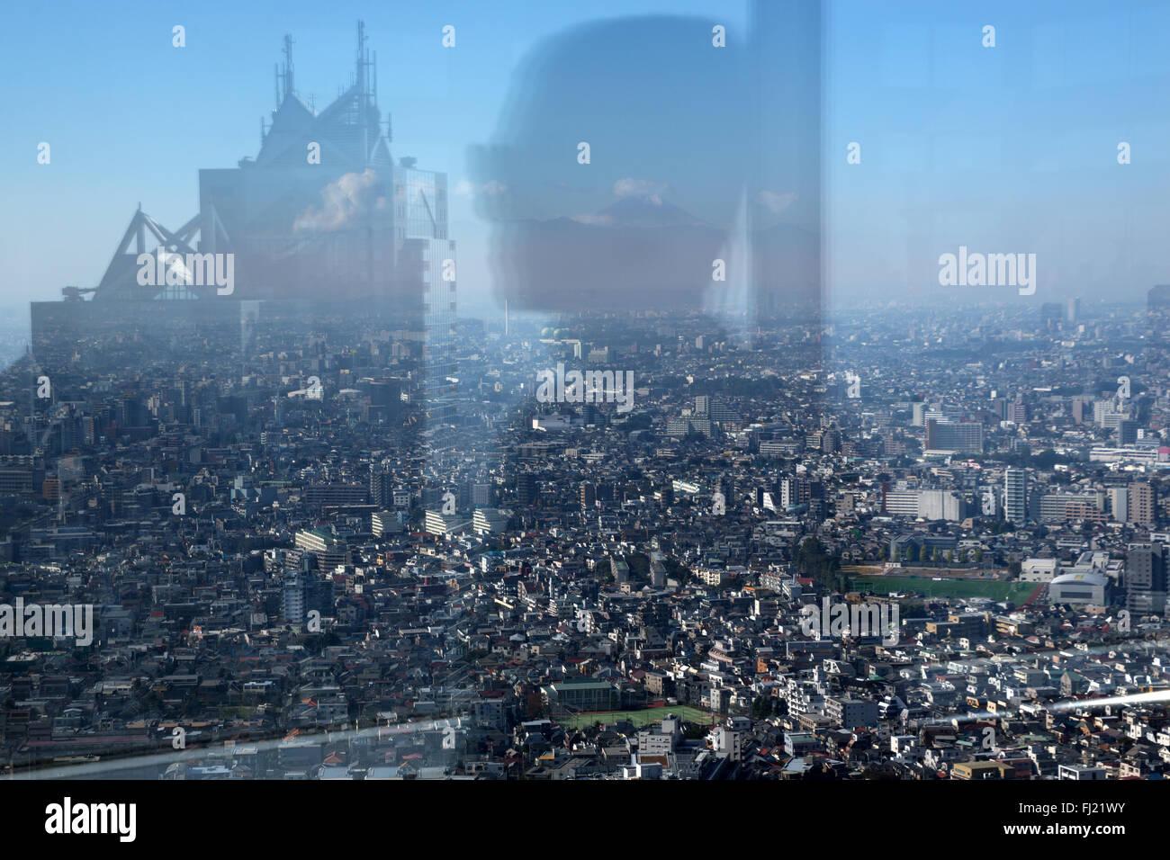 Vue sur Tokyo et le Mont Fuji à partir de la plate-forme d'observation de la ville de Tokyo Photo Stock