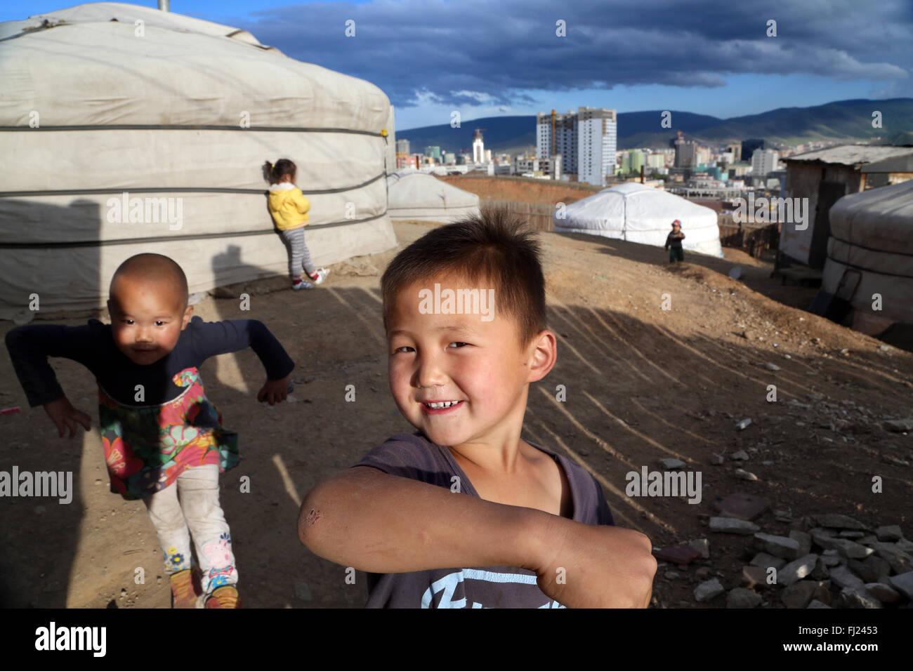 Portrait d'un des enfants en Mongolie Photo Stock