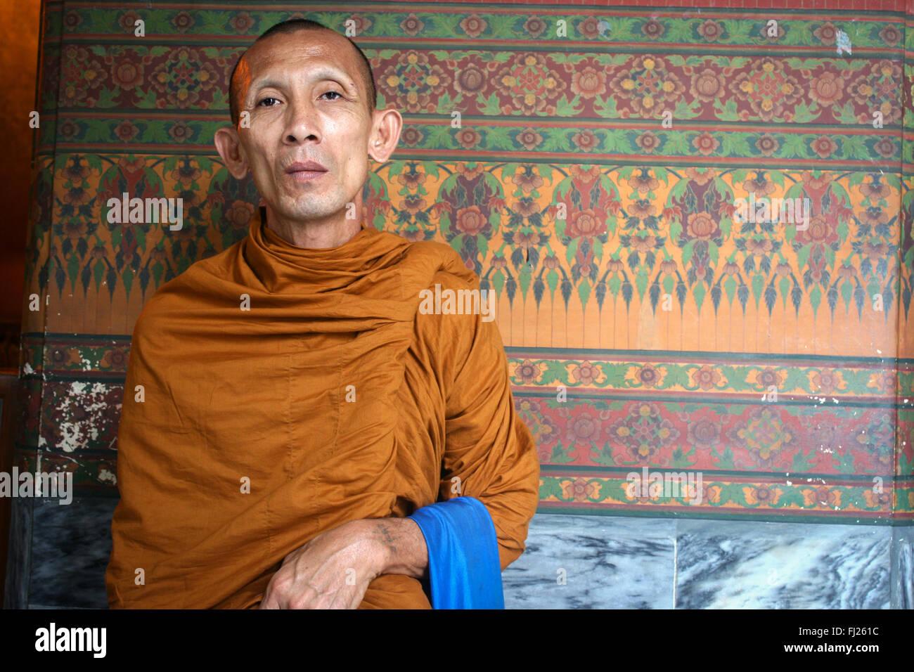 Portrait de moine bouddhiste à Bangkok Photo Stock