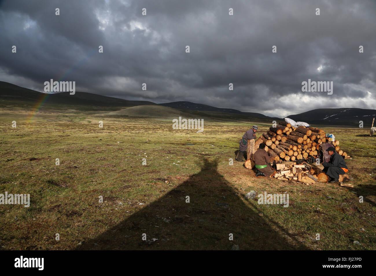 Nomades Tsaatan Mongolie - les gens de rennes - tribu - personnes vivant avec le renne en Asie centrale Photo Stock