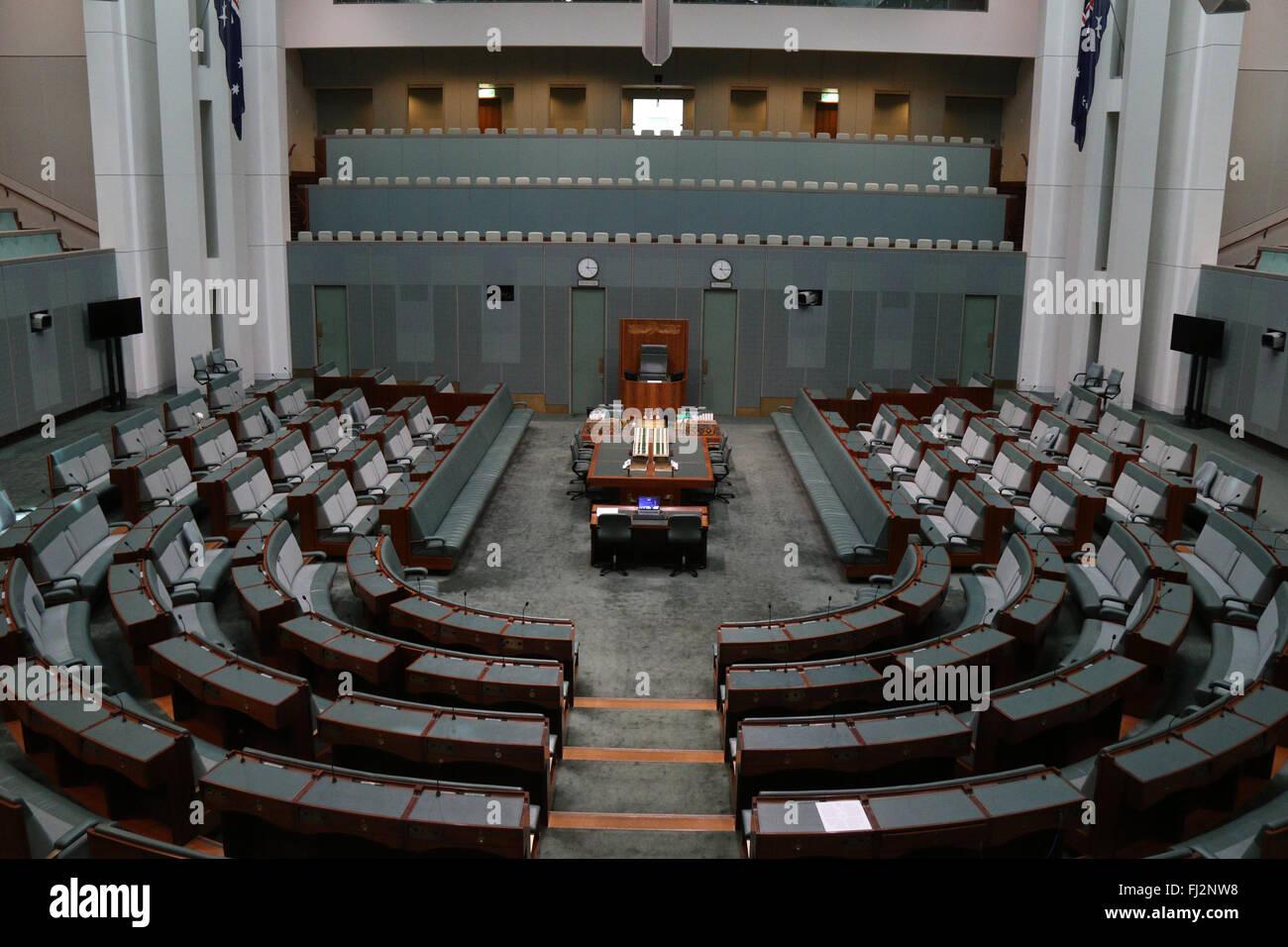 La Chambre des représentants au parlement australien à Canberra en Capital Hill. Banque D'Images