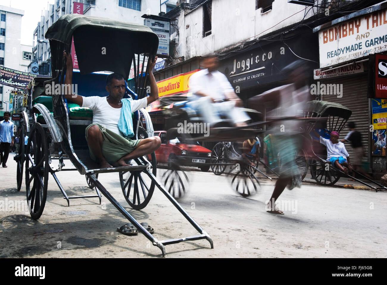 Les conducteurs de pousse-pousse, de l'Inde, Kalkutta Photo Stock