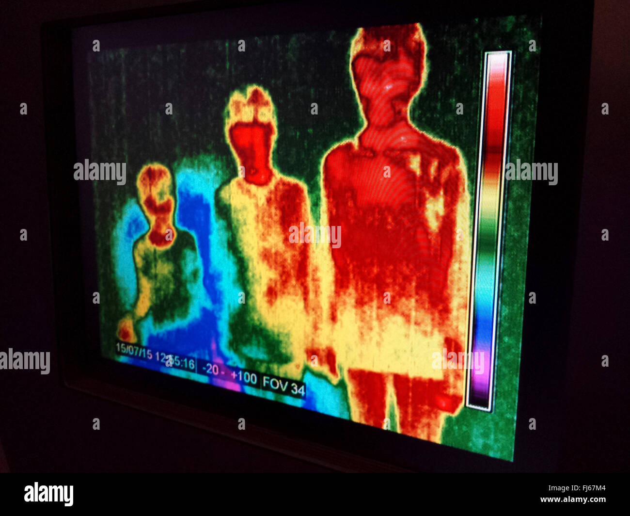 Image thermique de trois enfants Photo Stock