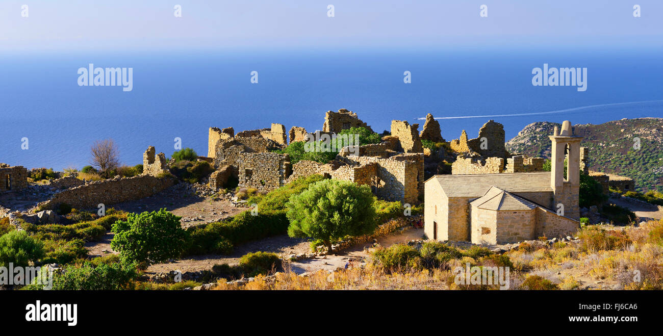 Village abandonné d'Occi, France, Corse, Calvi Photo Stock