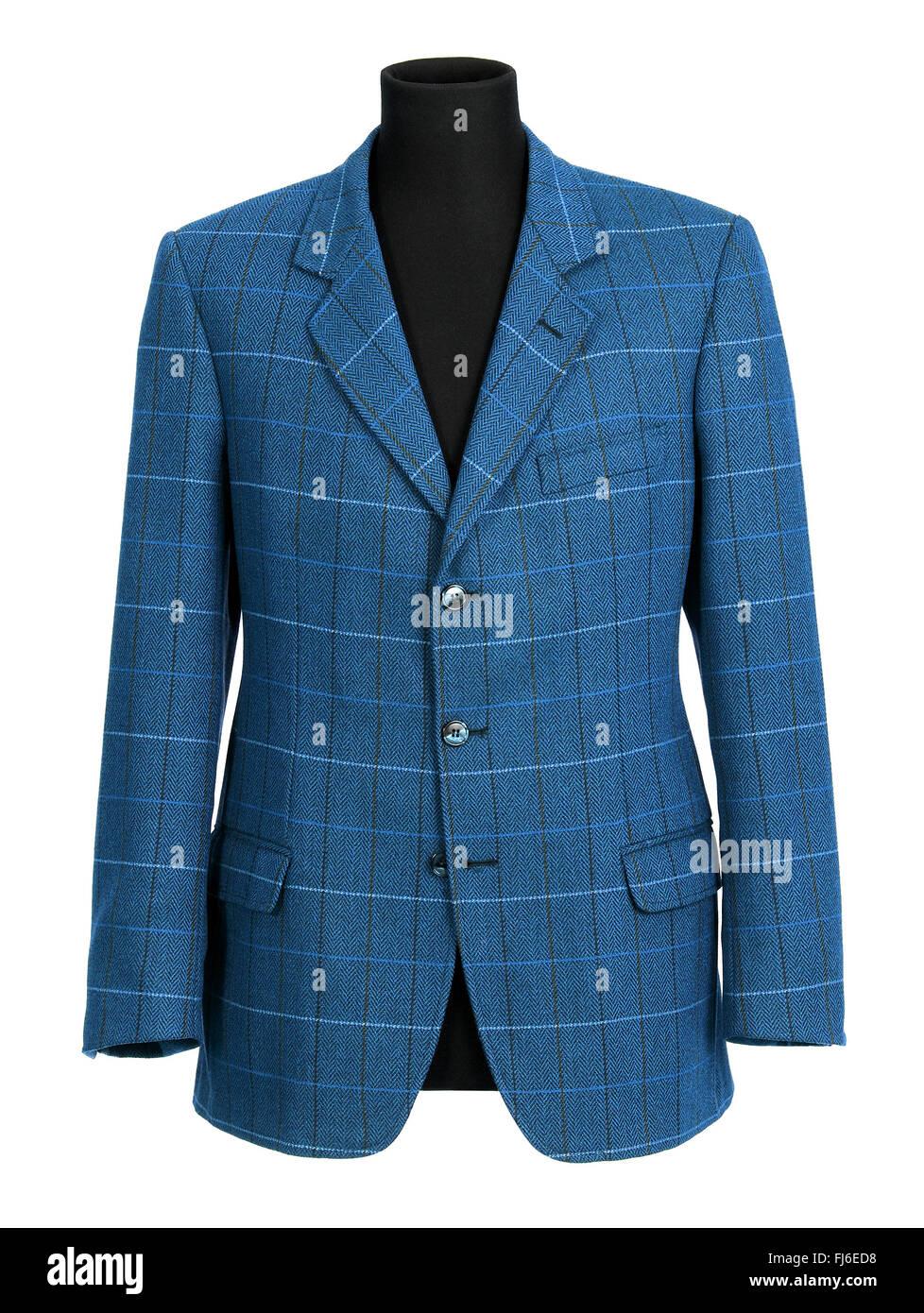 Veste bleu sur mesure élégant pour un homme avec un motif affiché sur un demi-mannequin isolated Photo Stock