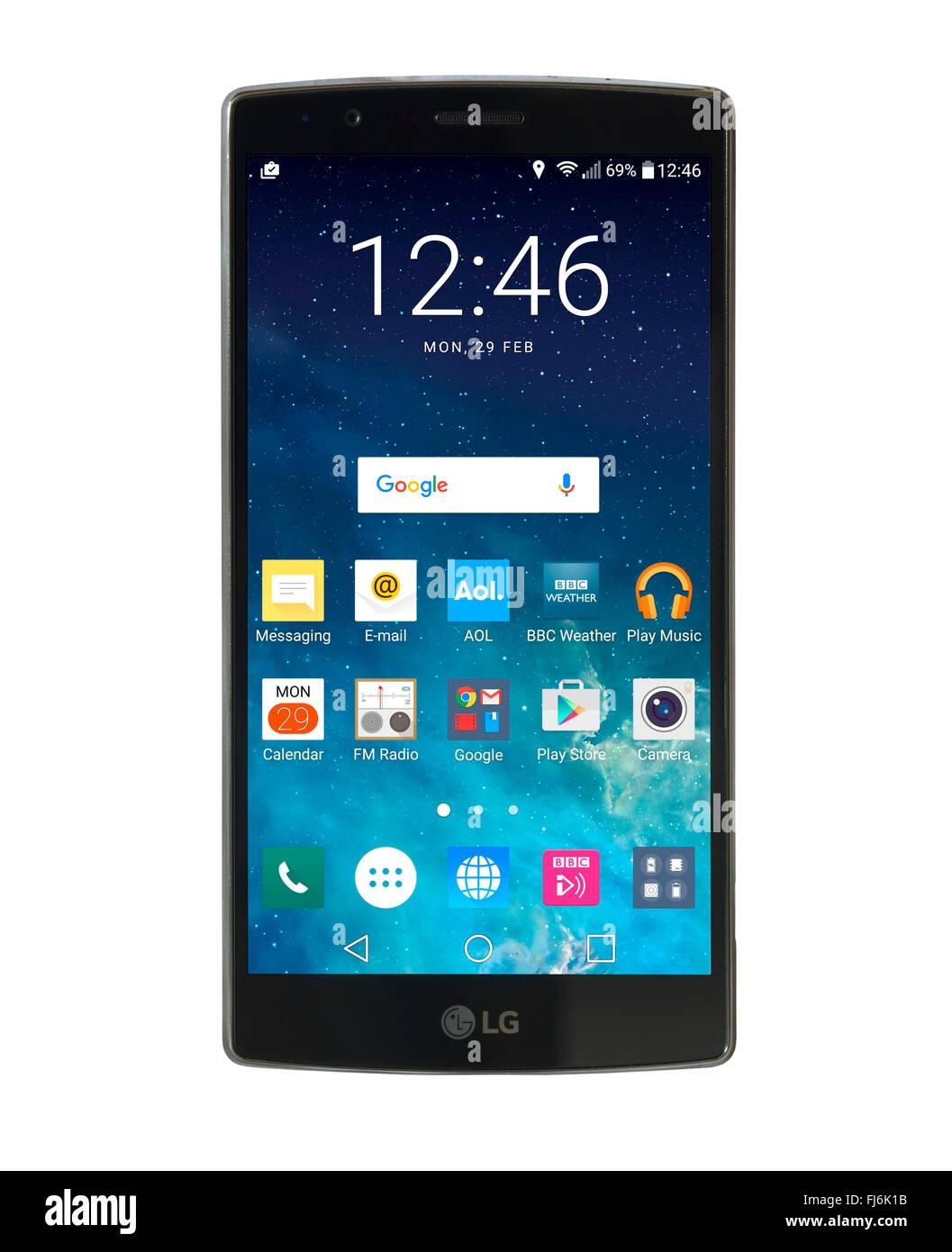 Écran d'accueil sur un LG G4 smartphone Android 5,5 pouces fonctionnant sous Android 6 Marshmallow Banque D'Images