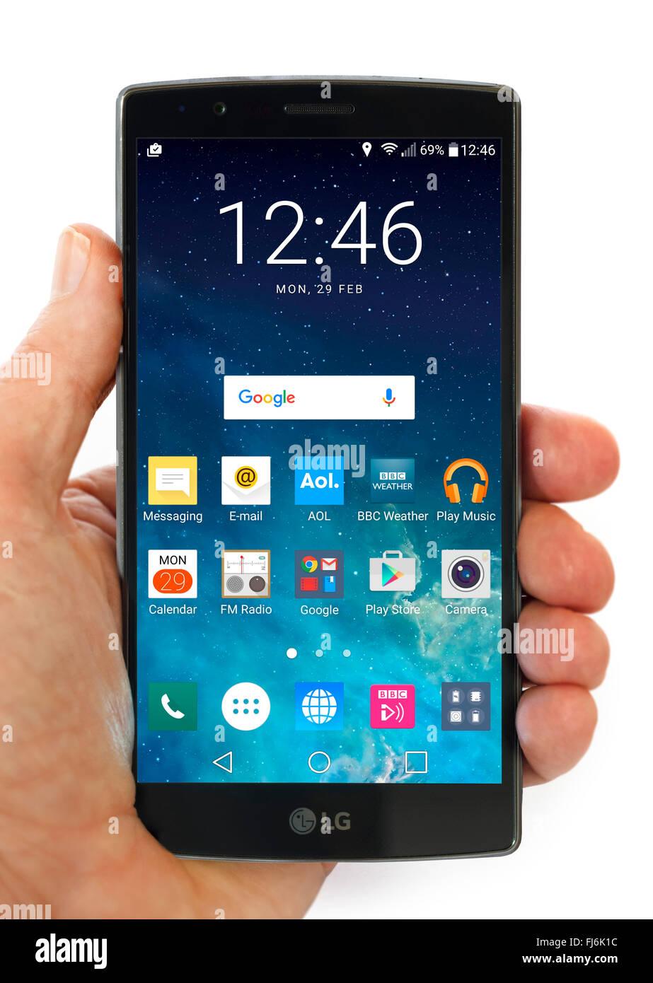 Écran d'accueil sur un LG G4 5,5 pouces Android téléphone sous Android 6 Marshmallow Photo Stock