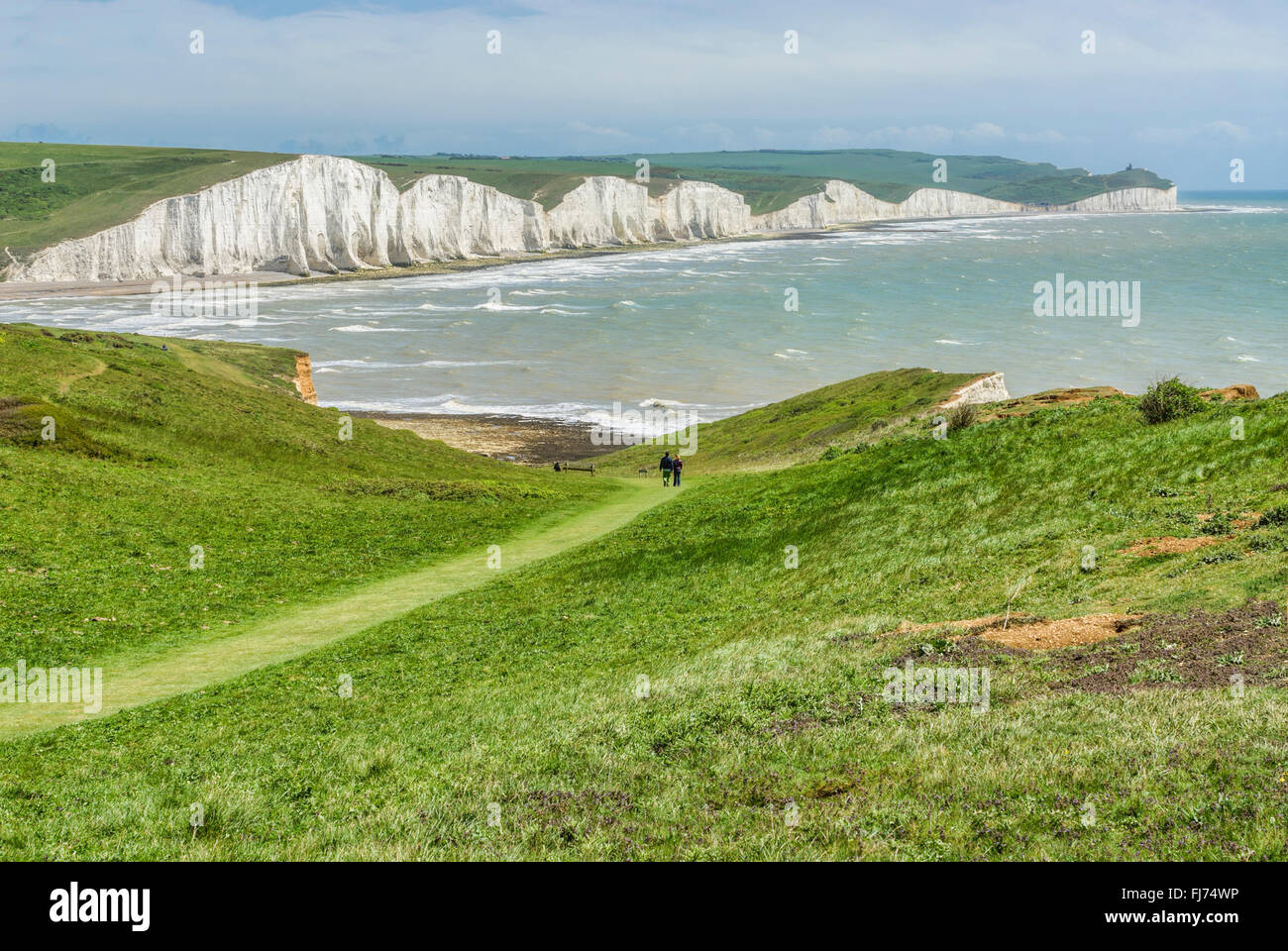 Sept Sœur Falaise près de la formation d'Eastbourne, East Sussex, Angleterre du Sud | Sept Sœurs Kreidefelsen, Photo Stock