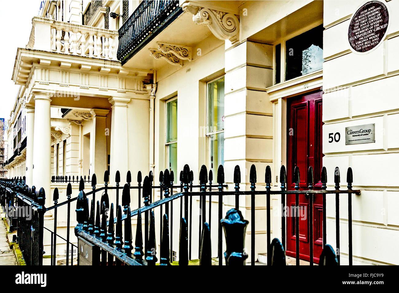 Maisons dans la zone Bloomsbury de Londres; Haeuser à Bloomsbury Banque D'Images