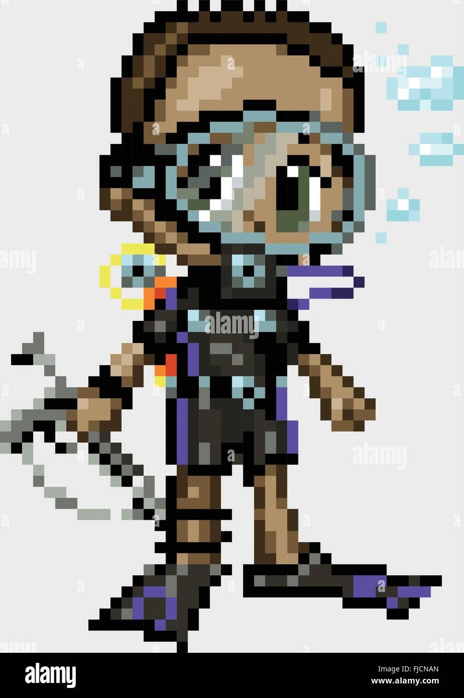 Garçon Un Plongeur Illustré Dans Un Style De Manga Ou D