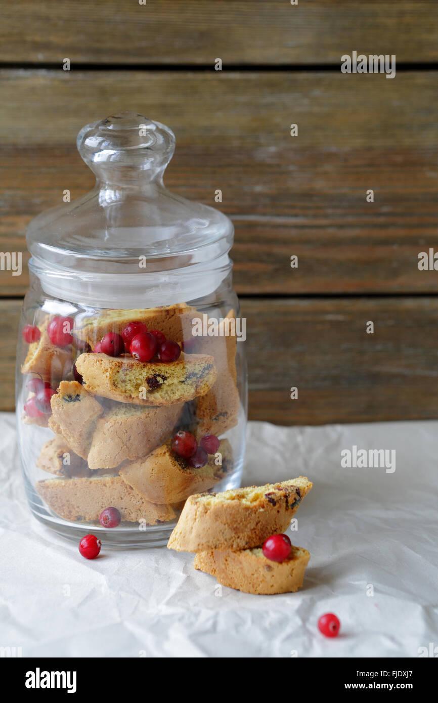 Biscotti aux canneberges, de l'alimentation Photo Stock