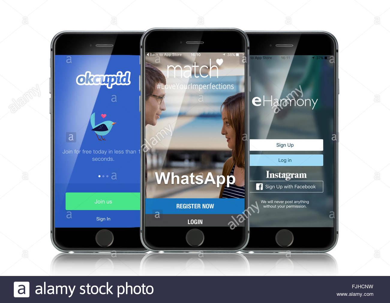 Iphone 6s'exécuter des applications de médias sociaux internet rencontres OKCupid, Match et s'était Photo Stock
