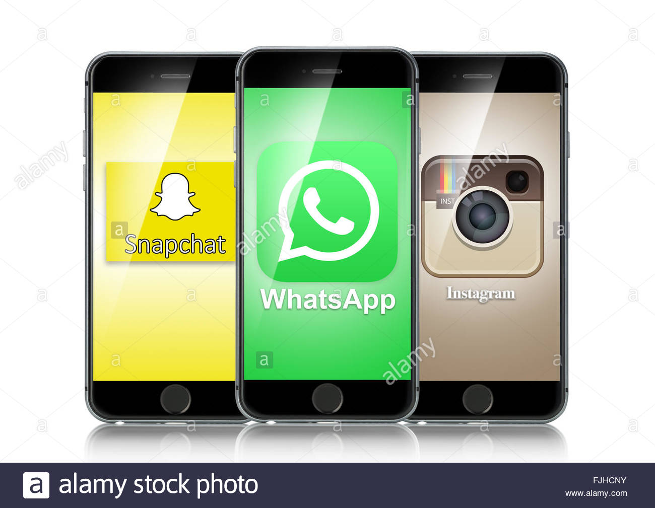 IPhone 6 Exécution des applications de médias sociaux snapchat whatsapp ou instagram isolé sur fond Photo Stock