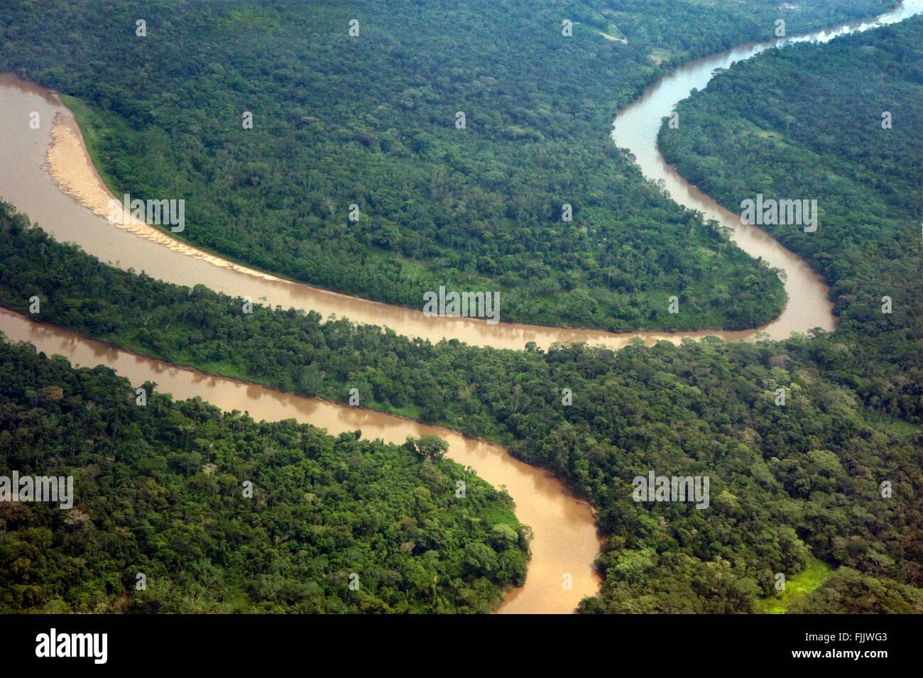 Vue aérienne de la rivière Amazone en Equateur Photo Stock