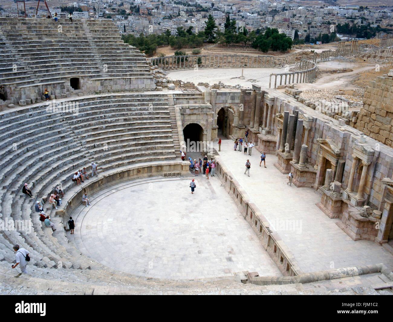 Ruines de Jerash, cité romaine près d'Amman en Jordanie Photo Stock