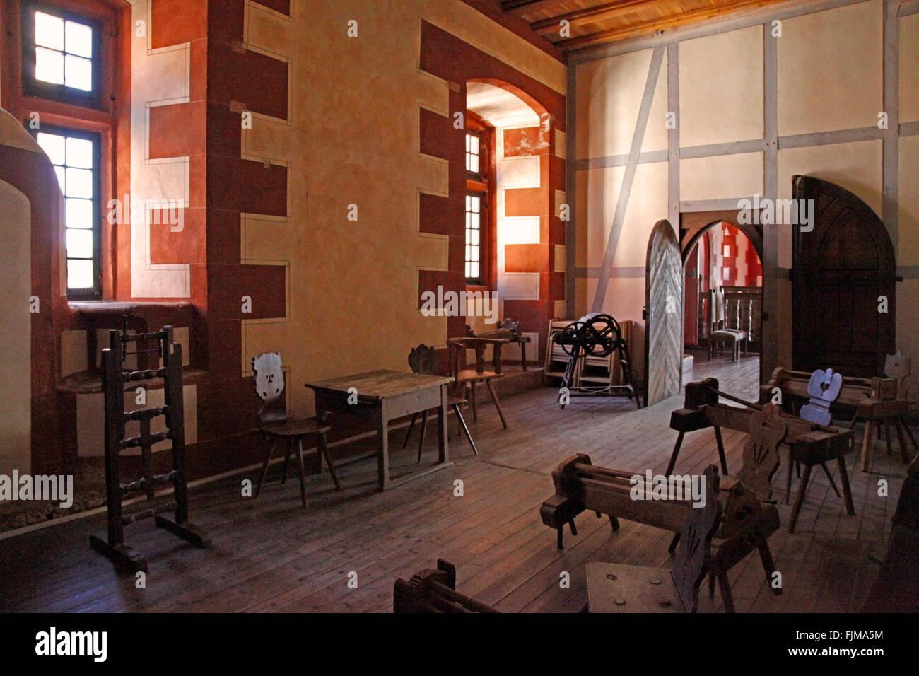 Géographie / voyage, Allemagne, Hesse, paysages, Ronneburg Château, vue de l'intérieur, meubles Photo Stock